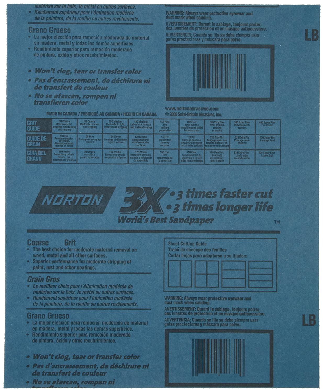 Norton ProSand Premium Job Pack Abrasive Sheet Next Generation of 3X Technology Aluminum Oxide Grit P400 Pack of 20 Fiber Backing