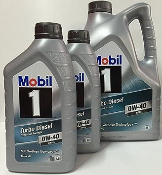 Mobil 1 Turbo Diesel 0W-40 7 lts (1x5 lts + 2x1 lt) DUO: Amazon.es: Coche y moto