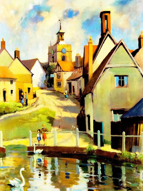 Village Scene Finchingfield Essex St John Baptist Church UK Poster Print