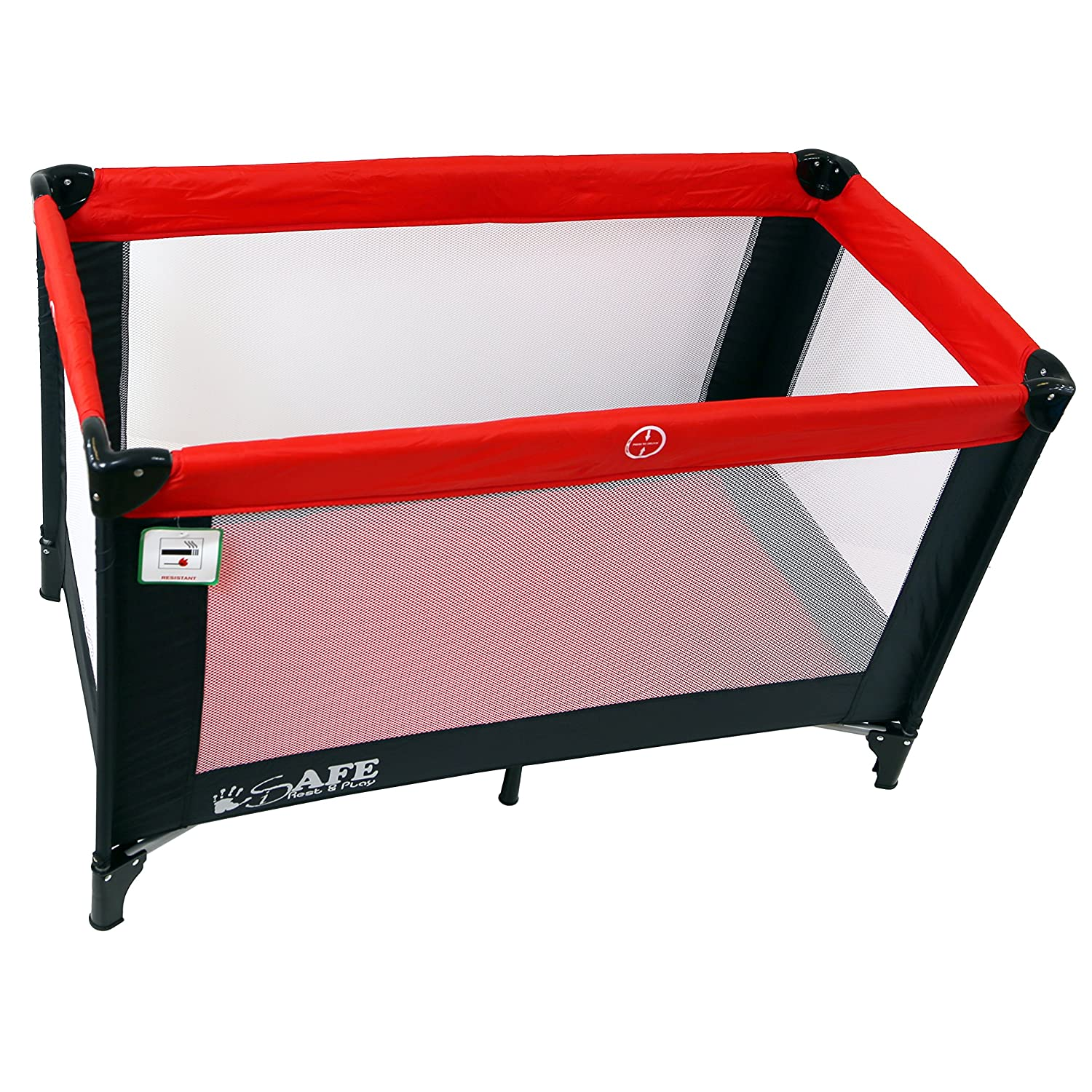 new styles 96137 e1fbc iSafe Rest & Play Luxury Travel Cot/Playpen - Warm Red (Black/Red) 120 cm x  60 cm