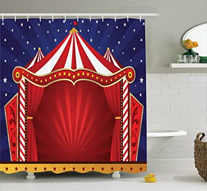 Red Shower Curtain Circus Decor By Ambesonne Canvas Tent Stage Performing Theater Jokes Clown