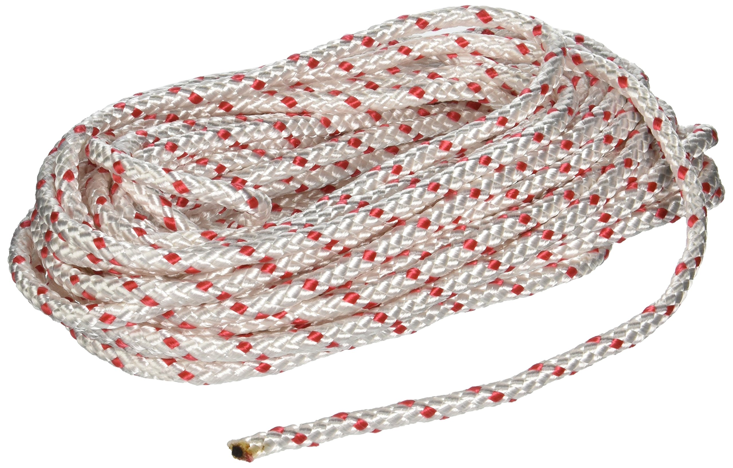 Lehigh Group BPE1050W Polypropylene Diamond Braid Rope, 50', White/Red
