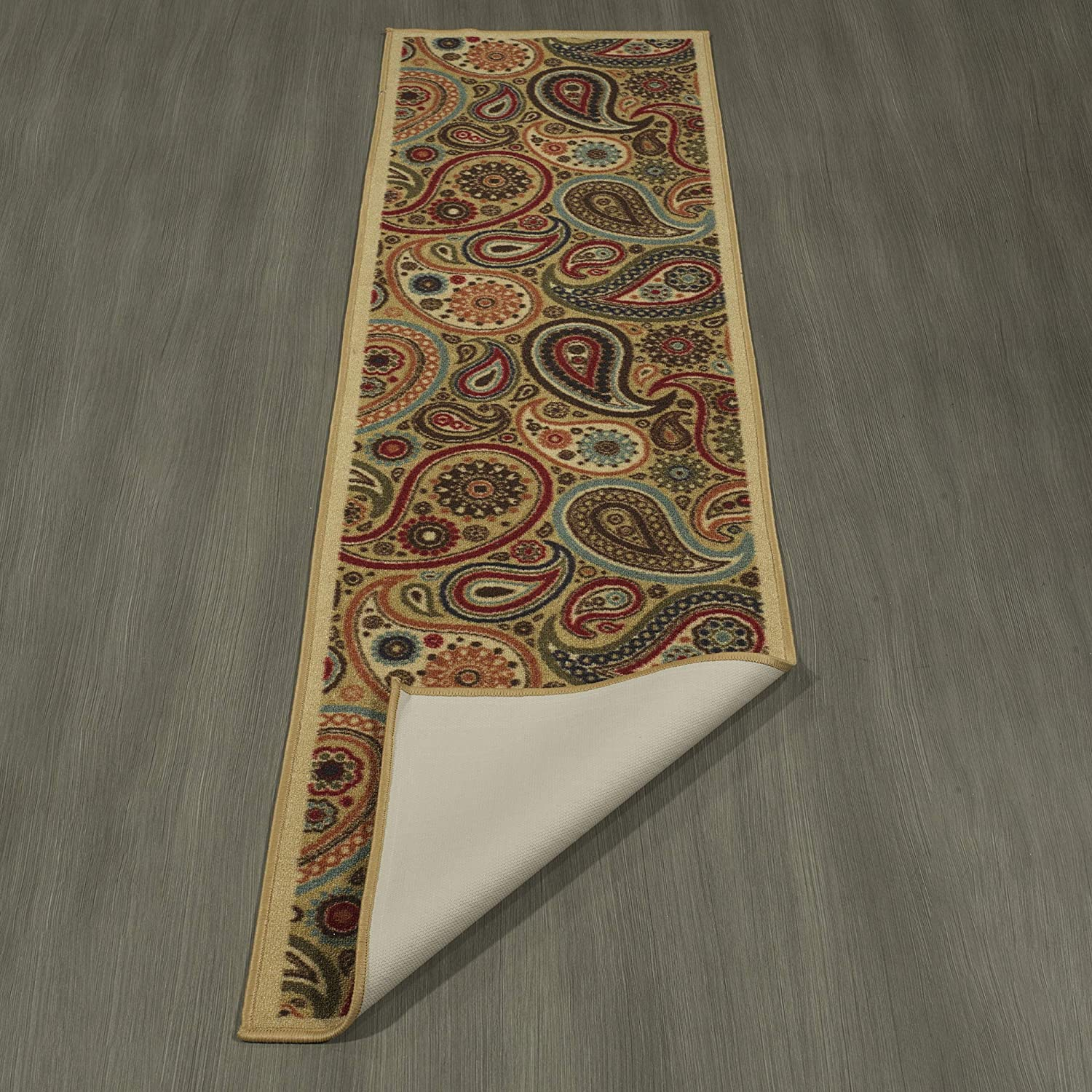 110 W X 7 L Rubber Backing Non-Slip Beige Ottomanson Ottohome Collection Contemporary Paisley Design Modern Runner Rug with Non-Skid