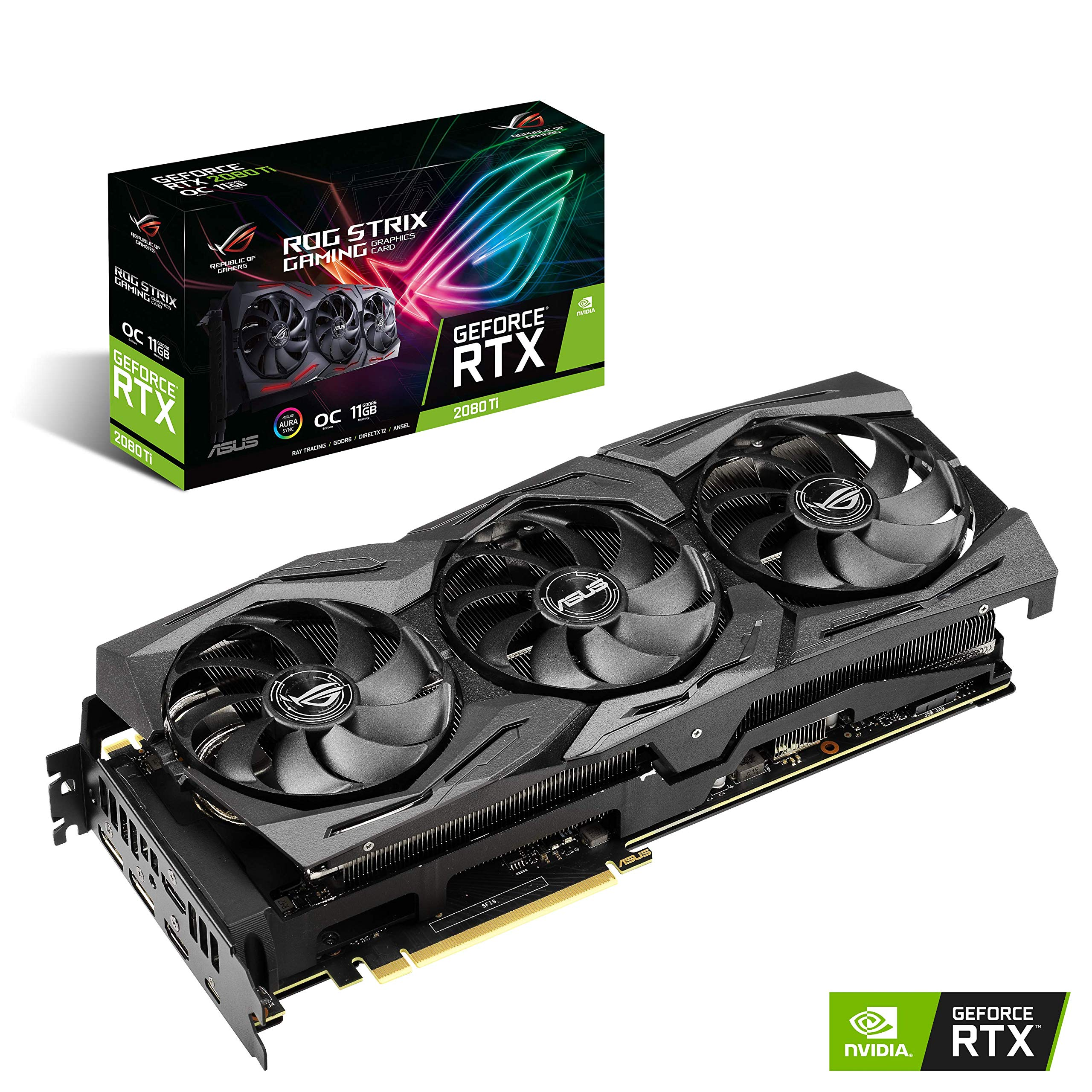 ASUS ROG Strix GeForce RTX 2080TI Overclocked 11G GDDR6 HDMI DP 1.4 USB Type-C Gaming Graphics Card (ROG-STRIX-RTX-2080TI-O11G) by ASUS (Image #1)