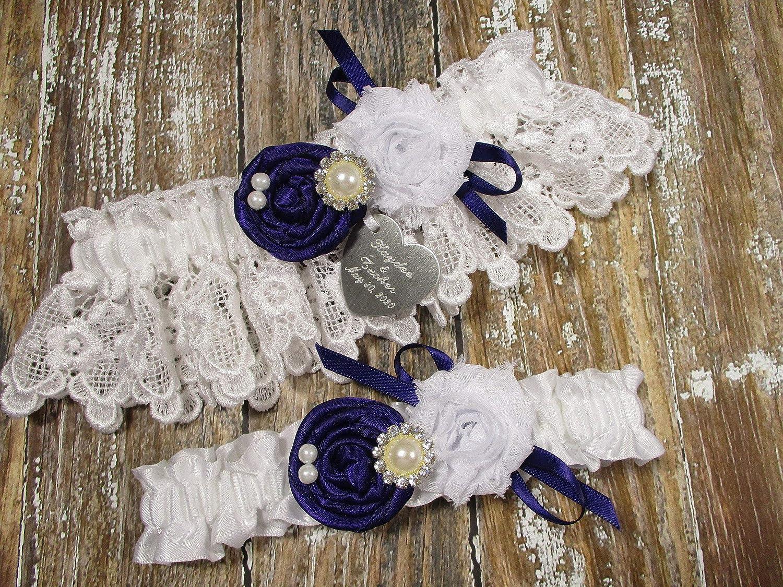 White Lace /& Rhinestone Garter Vintage Inspired Garter Set Purple Garter Set Plum Garters Plum Purple Garter Wedding White Garte Set Set