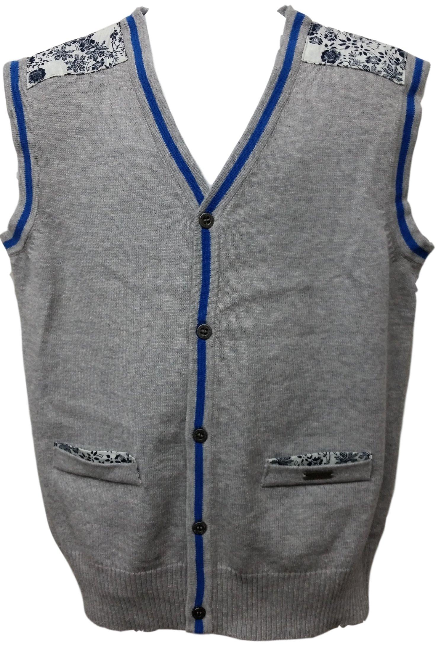 Viero Richi Boy's Sweater Vest 100% Cotton 2293G (12, Grey)