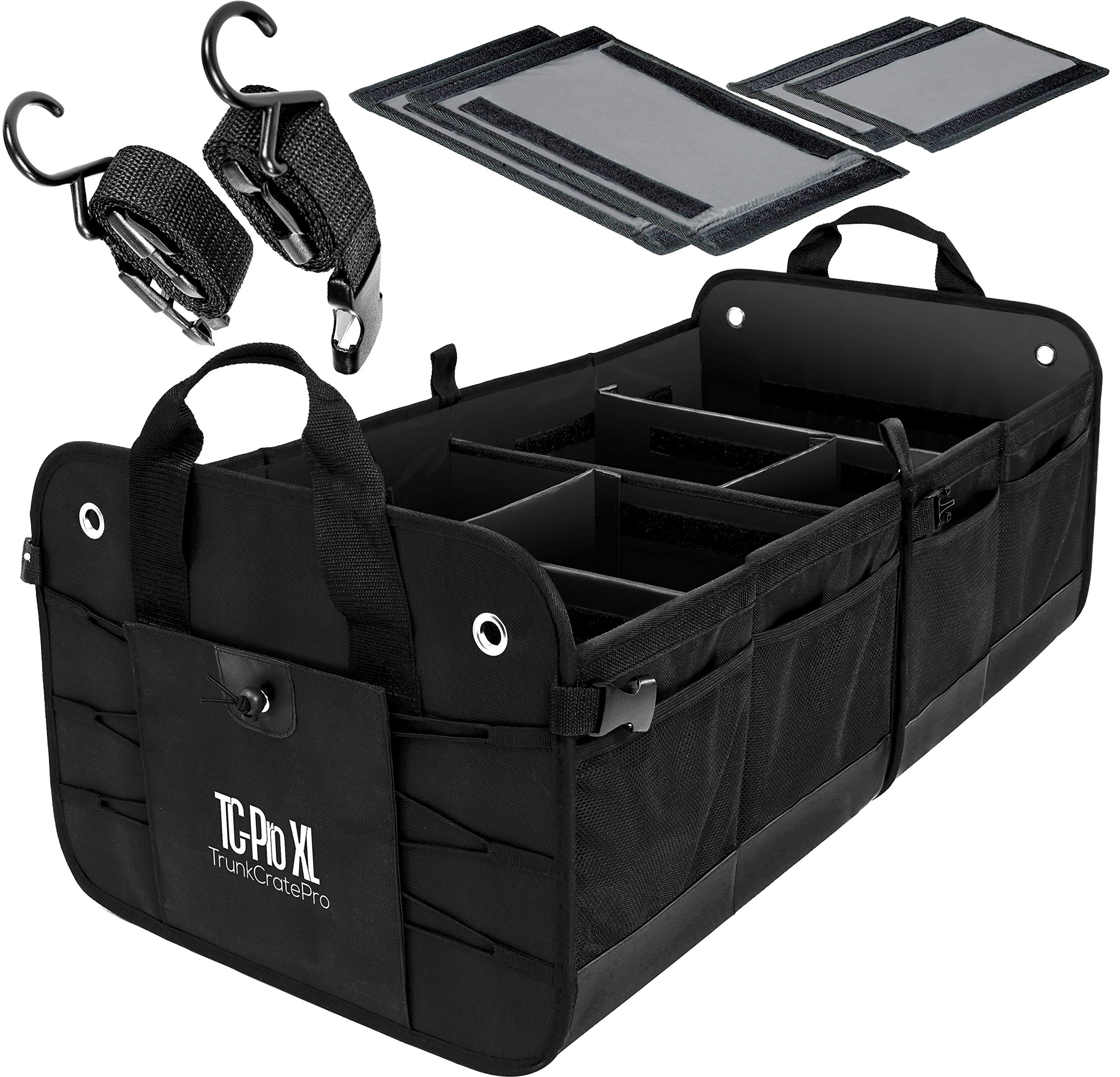 TrunkCratePro Extra Large Multi Compartments Collapsible Portable Trunk Organizer with metal hooks, recommended for REALLY large loads!