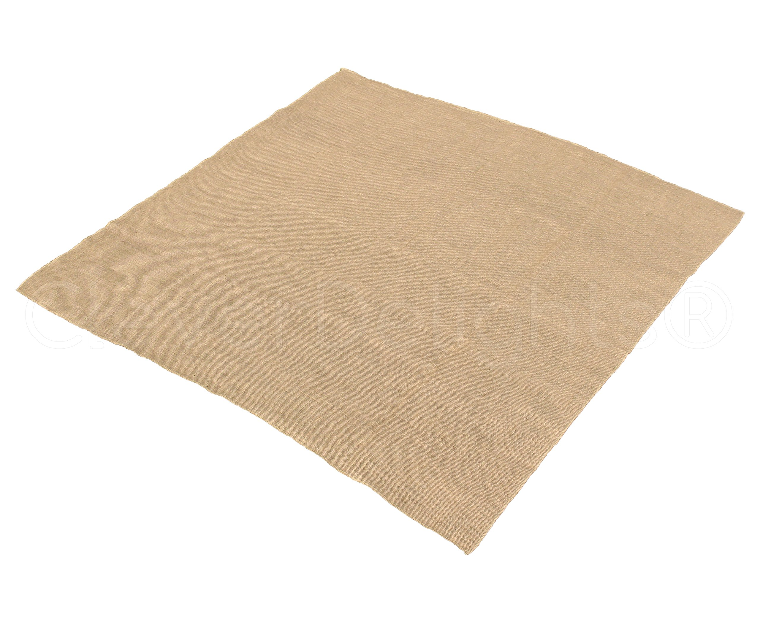 10 Pk - CleverDelights Square Burlap Tablecloth - 60'' x 60'' - Premium Jute Burlap Overlay - Finished Edge
