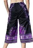 Raan Pah Muang Elastic Waist Casual African Dashiki Shorts 3/4 Leg Capri, X-Large, Violet Black