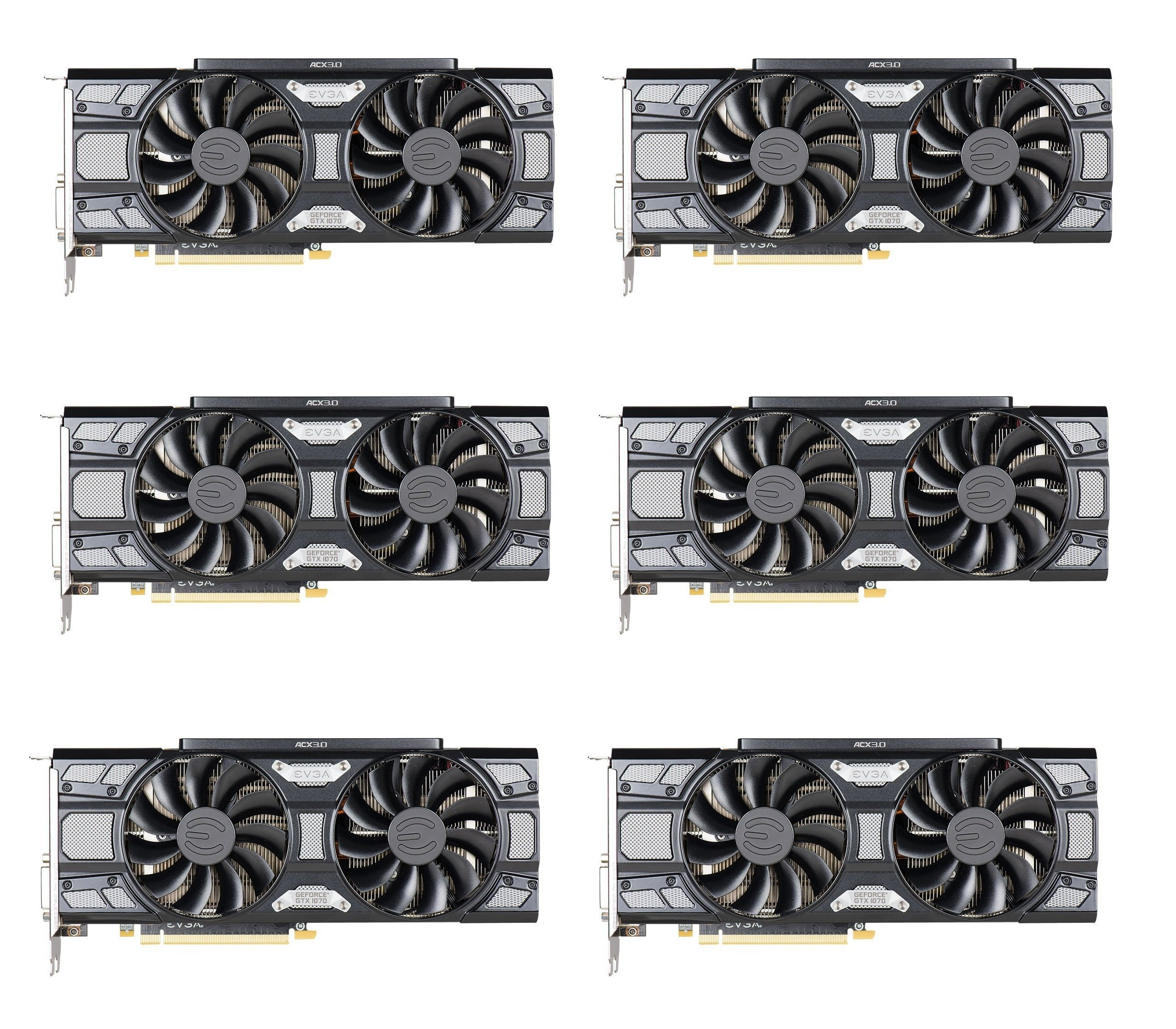 6 Packs of EVGA GeForce GTX 1070 SC GAMING ACX 3.0 Black Edition, 8GB GDDR5, LED, DX12 OSD Support (PXOC) 08G-P4-5173-KR