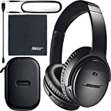 Bose QuietComfort 35 Series II Wireless Noise-Canceling Headphones (Black) (789564-0010) + AOM Bundle - International…