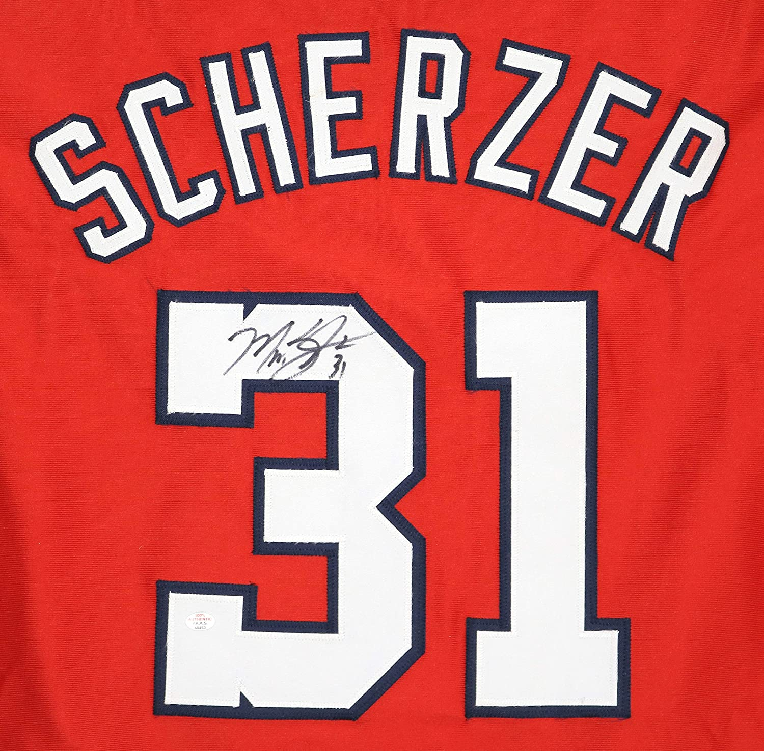 super popular b8a2b 676cf Max Scherzer Washington Nationals Signed Autographed Red #31 ...