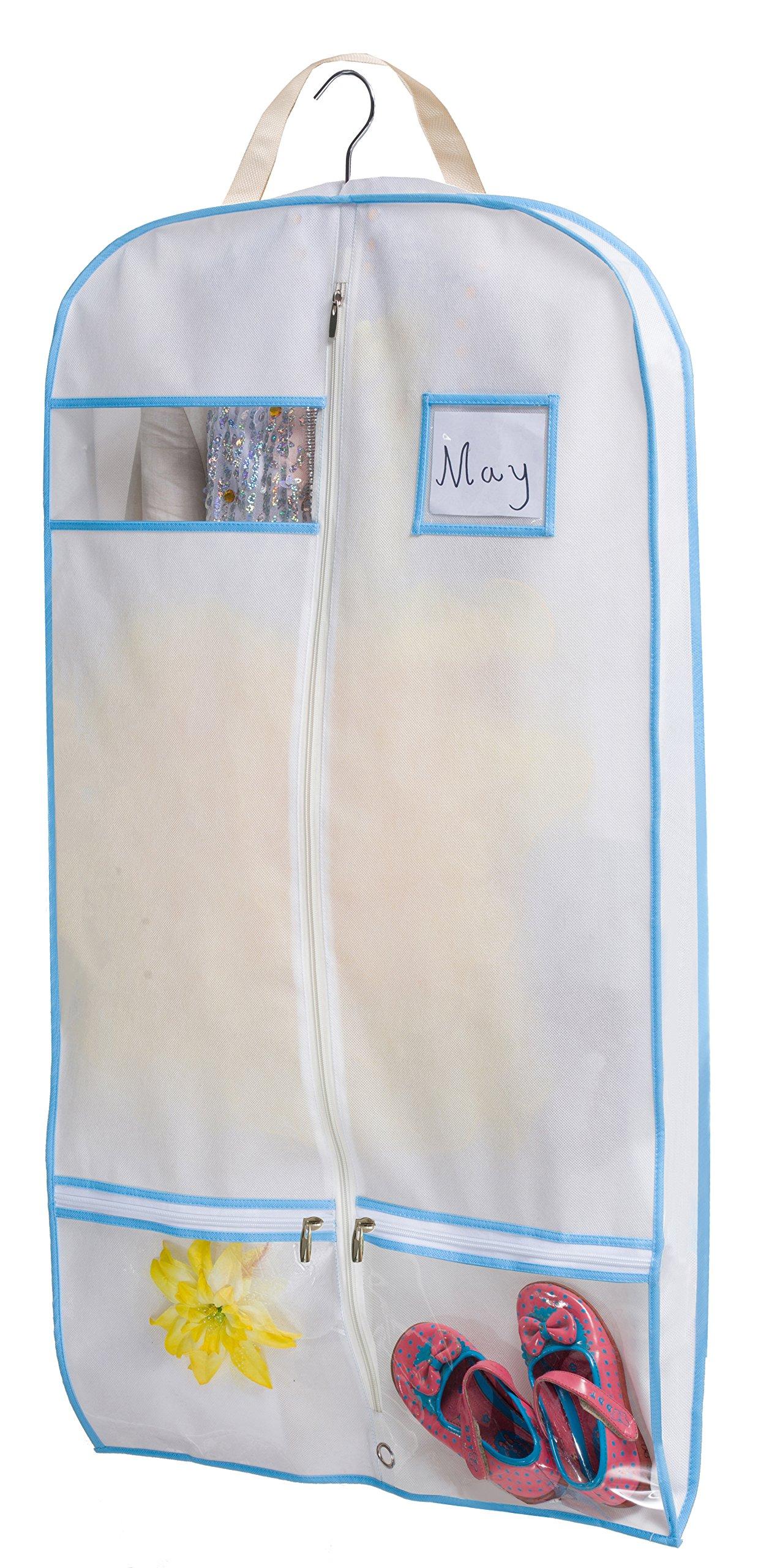 Kimbora 40'' Travel Dance/Dress Costume Garment Bag with Clear Accessories Zipper Pockets Suit Garment Cover (White) by KIMBORA (Image #1)