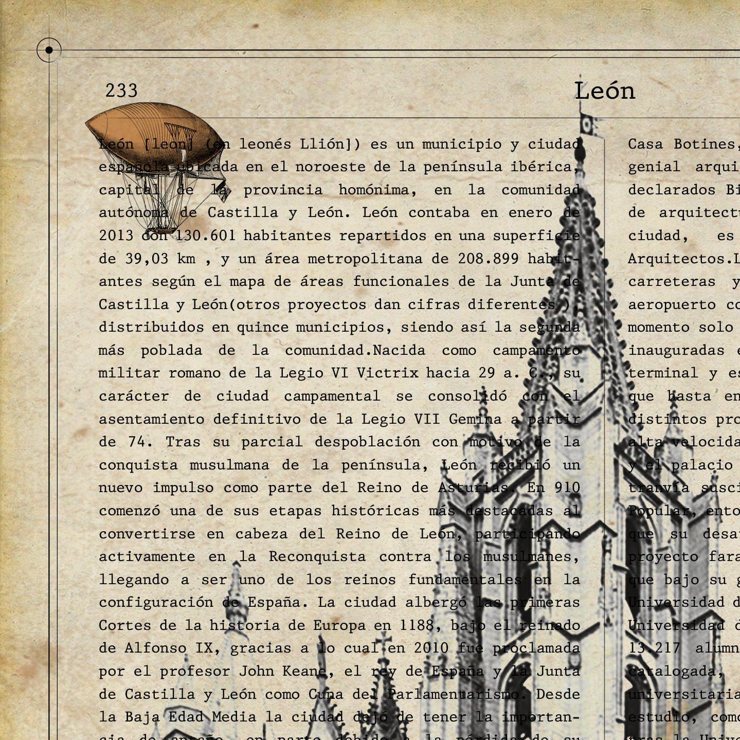 Nacnic Lámina Ciudad de Leon. Estilo Vintage. Ilustración, fotografía y Collage con la Historia DE Leon. Poster tamaño A4 Impreso en Papel 250 Gramos y ...