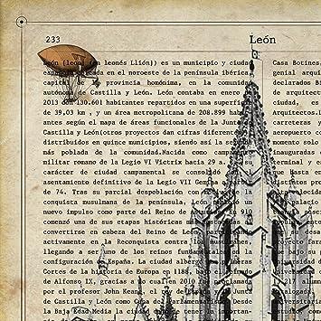 Ilustración, fotografía y Collage con la Historia DE Leon. Poster tamaño A4 Impreso en Papel 250 Gramos y tintas: Amazon.es: Hogar