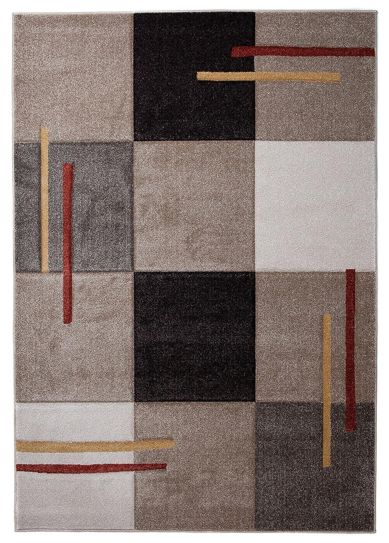 Tapiso Designer Teppich Extreme STILVOLL BRAUN Karo BUNT KONTURENSCHNITT 140 x 190 cm