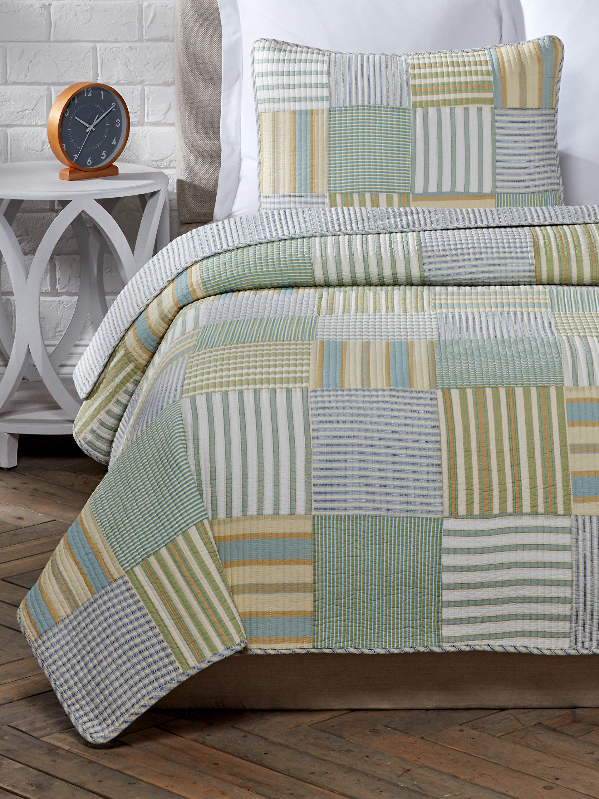 Cozy Line Home Fashions 2 Piece Spa Stripes Cotton Quilt Set, Twin