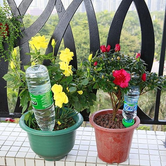 ANARONA Pinchos de riego para plantas (4 unidades, cerámica, riego por goteo, sistema de riego por riego lento, ideal para interiores y exteriores): ...