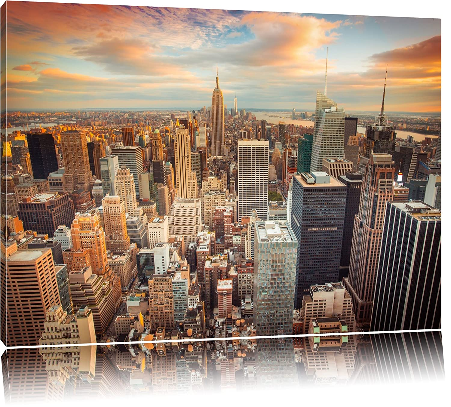 Amazon.de: Skyline von New York Format: 120x80 auf Leinwand, XXL ...