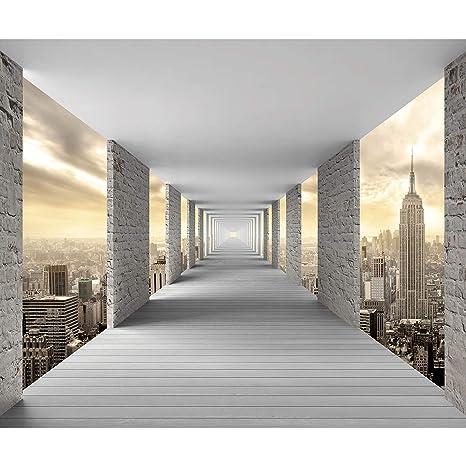decomonkey Fototapete 3d Effekt New York 350x256 cm XL Tapete Fototapeten  Vlies Tapeten Vliestapete Wandtapete moderne Wandbild Wand Schlafzimmer ...