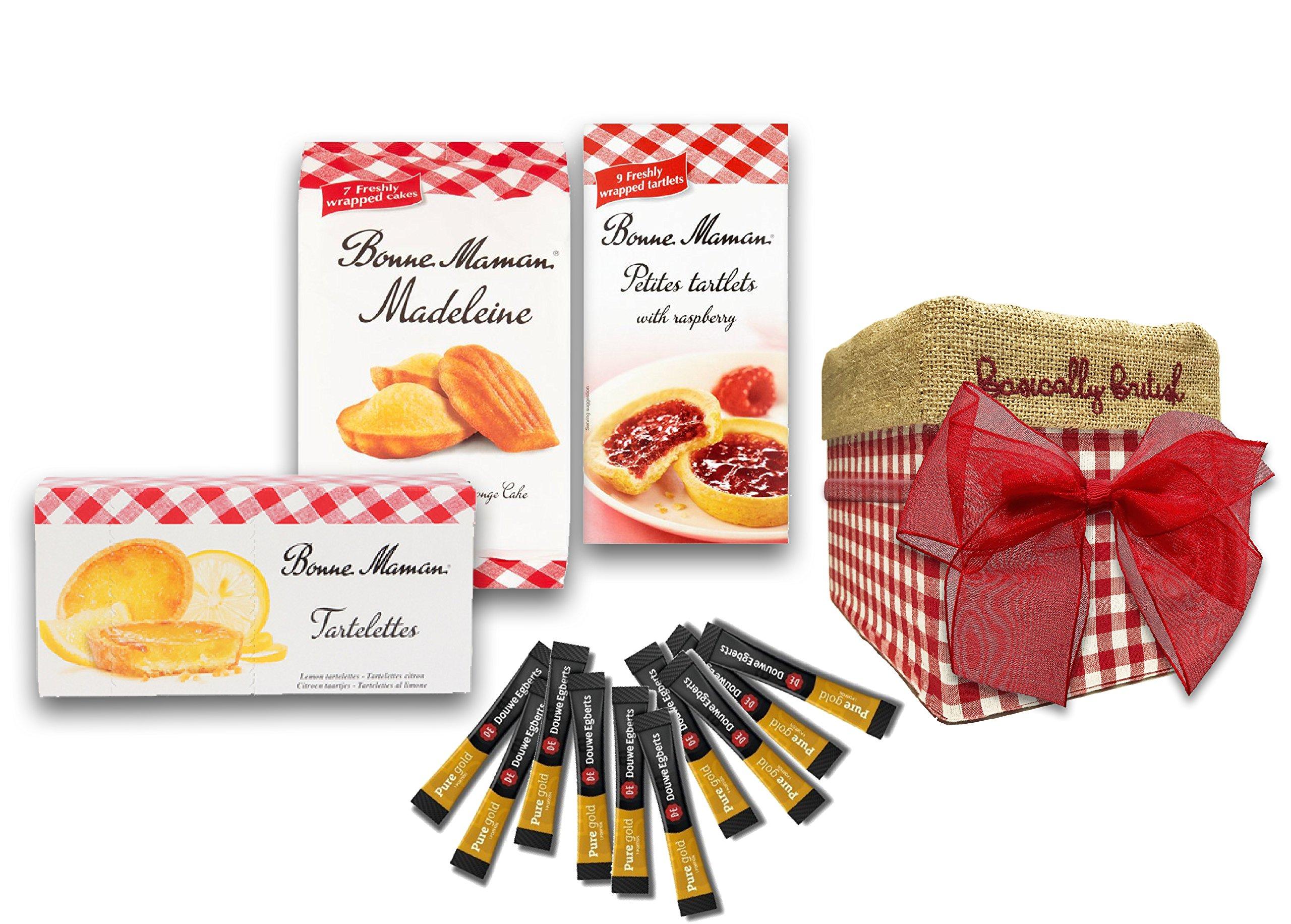 Bonne Maman Madeleins, Bonne Maman Lemon Tartlets & Bonne Maman Raspberry Tartlets in Basically British Jute Storage Box