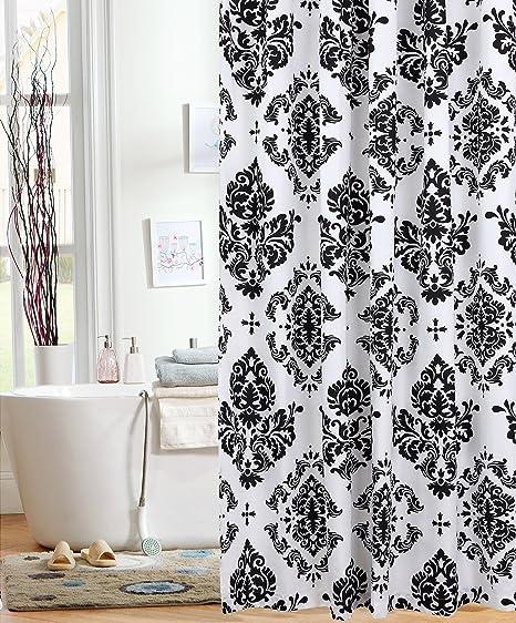 Attrayant Amazon.com: Unbranded Elegant Black U0026 White Damask Fabric Shower Curtain  Bold Medallion Bath Design: Toys U0026 Games