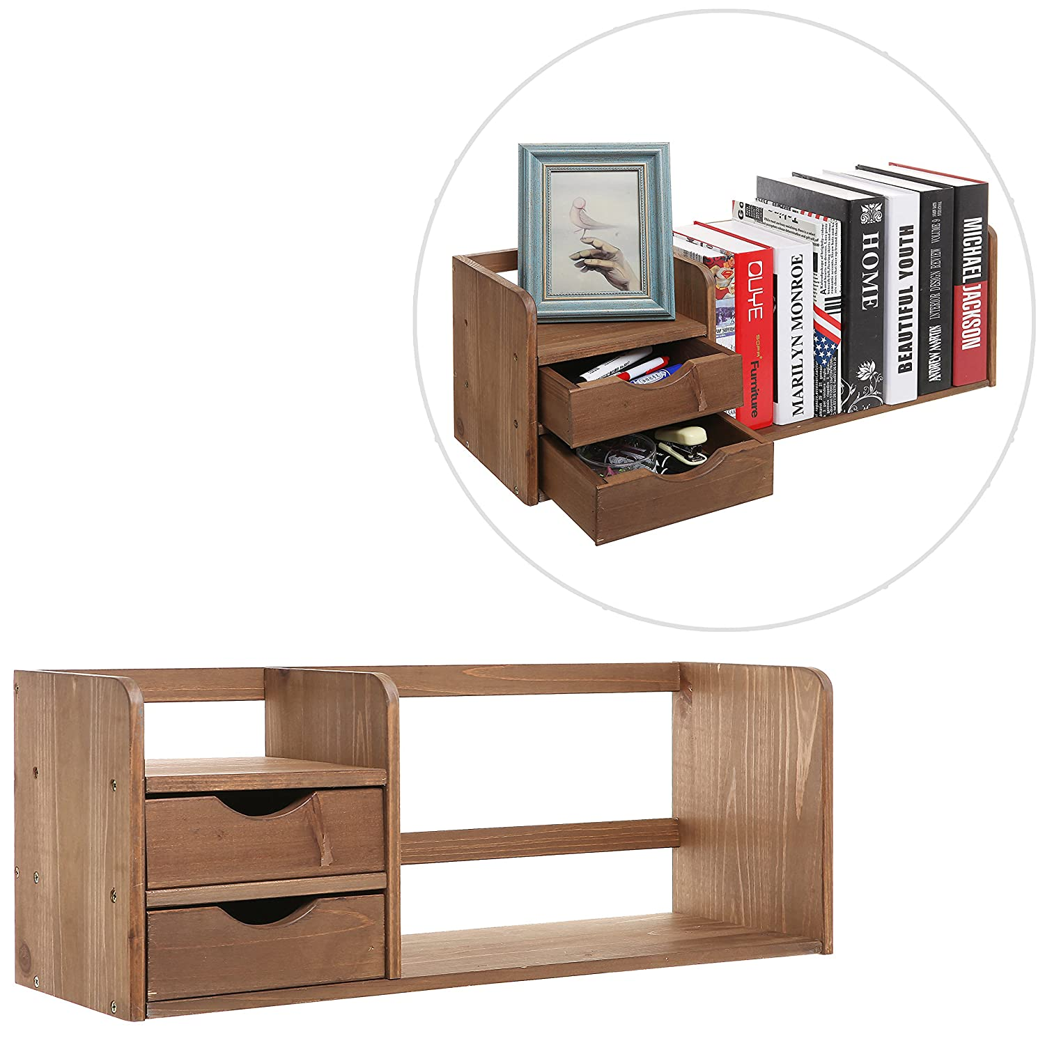 Amazon.com : Natural Brown Wood Desk Organizer With Two Drawers Bookshelf  Display Rack For Office Home : Office Products