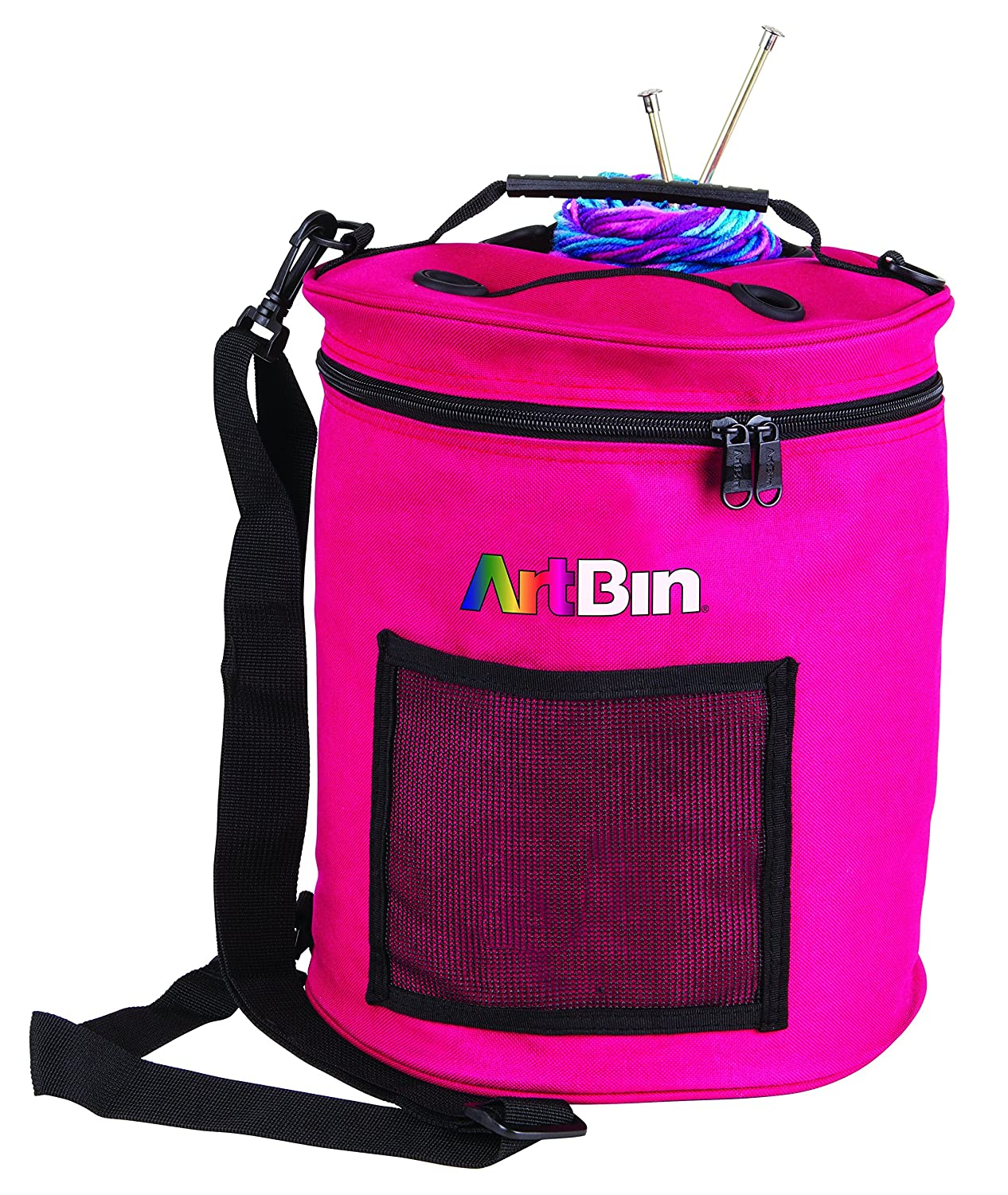 ArtBin 6805SA Yarn Drum 6806SA Knitting and Crochet Tote, Raspberry Flambeau