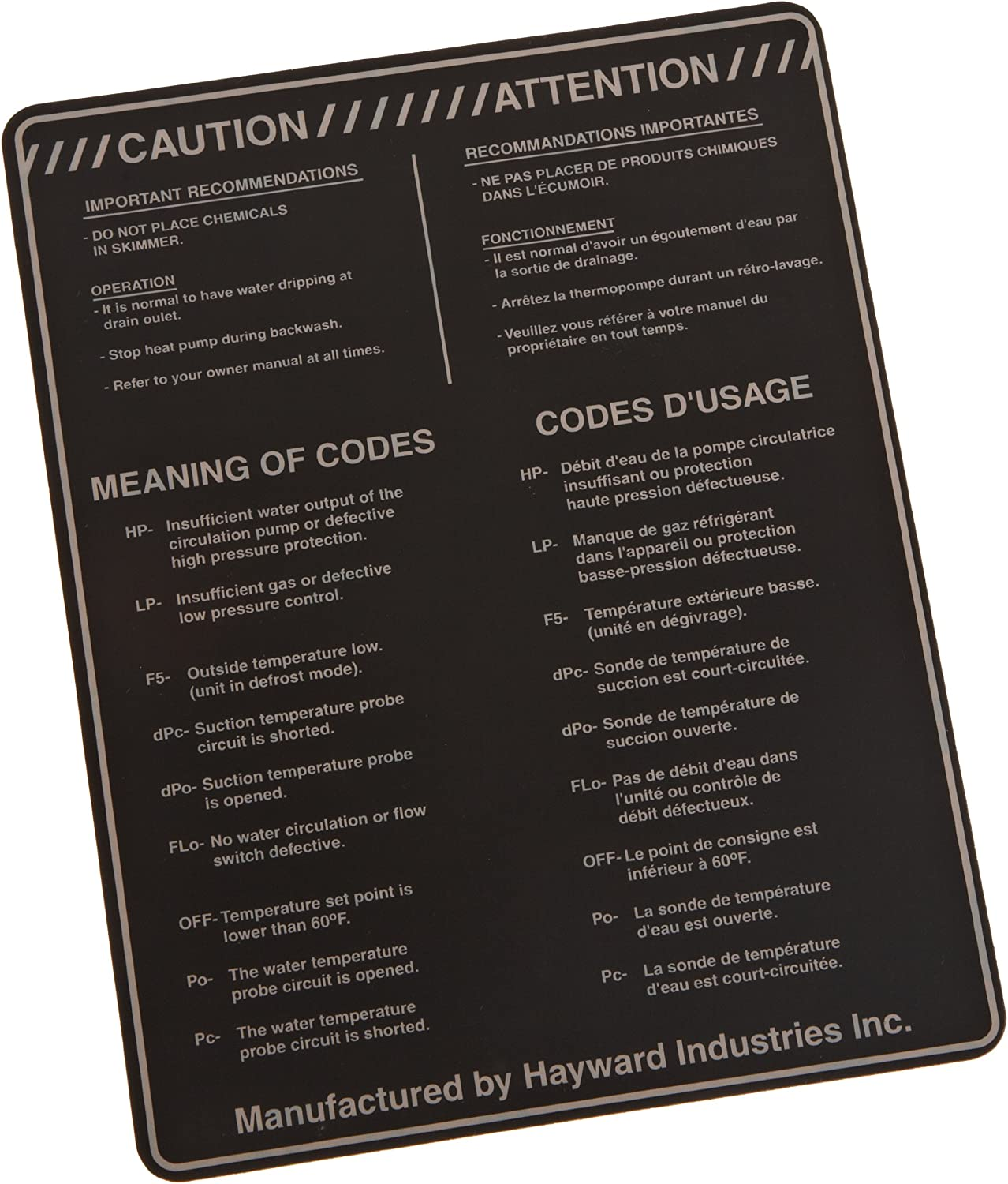 Hayward SMX309000003 Warning Label Replacement for Hayward Summit Heat Pool Pumps