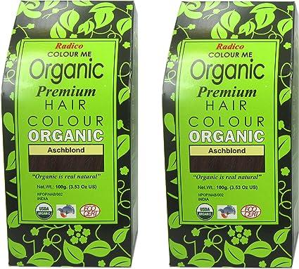 Radico Aschblond Colour Me Organic - Tinte para el cabello vegetal, orgánico, vegano, cosmética natural), 2 unidades