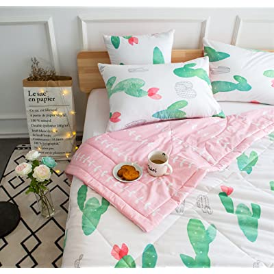 Kids Cute Cactus 4-pieces Comforter Set Twin Bed in a Bag for Kids Bedroom, 100% Cotton, Comforter + Flat Sheet + Fitted sheet + Pillowcase (cactus)