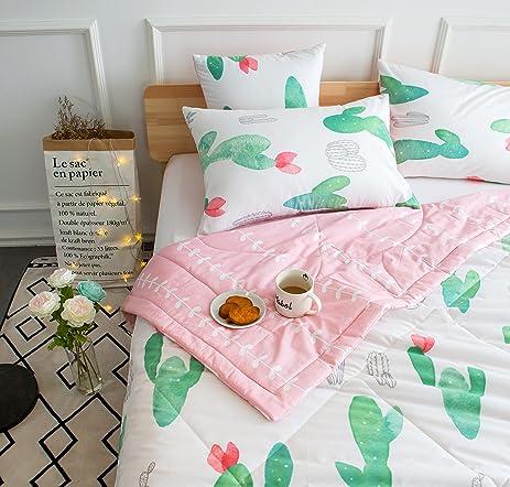 kids cute cactus 4pieces comforter set twin bed in a bag for kids bedroom