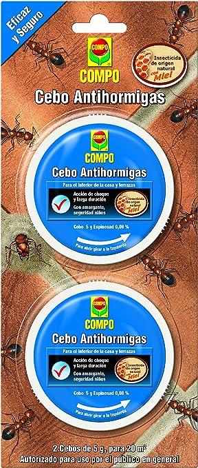 Compo Cebo antihormigas, Control de Hormigas en el Interior del hogar y Alrededor de Edificios, terrazas y Patios, 2 unidades de 4.9 g: Amazon.es: Jardín