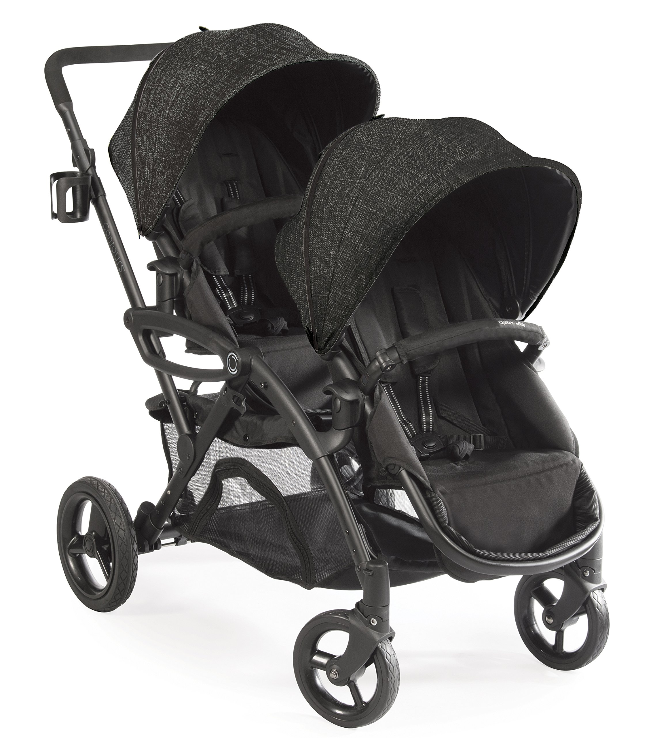 Contours Options Elite Tandem Double Toddler & Baby Stroller, Multiple Seating Configurations, Lightweight Frame, Car Seat Compatibility, Carbon Gray by Contours