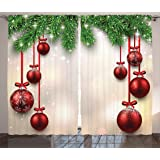 Christmas Curtain Red Green Decorations By Ambesonne, Xmas Inspired Winter  Season Theme Fir Twigs And Part 58