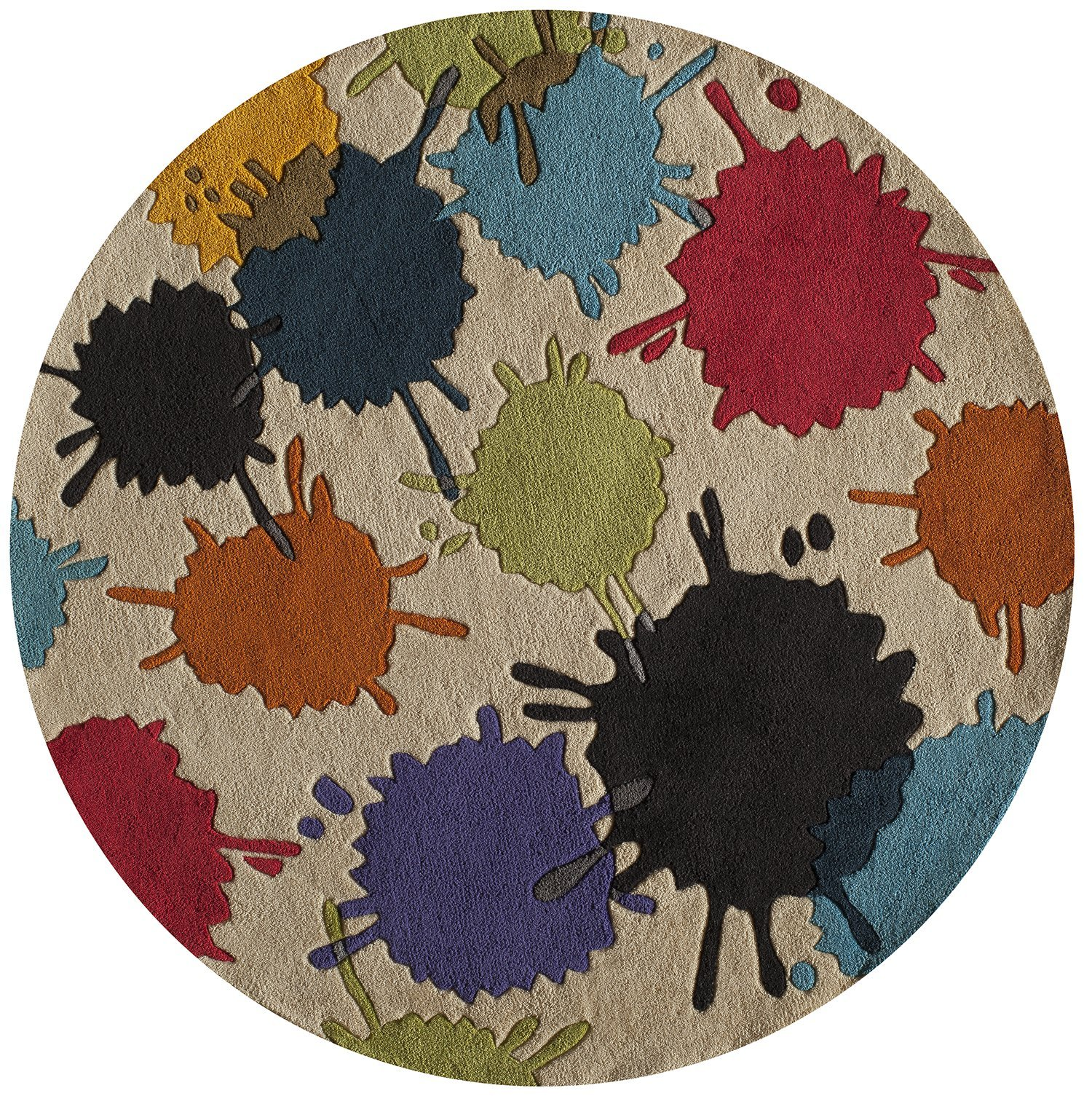 Momeni Rugs LMOTWLMT-9IVY500R Lil' Mo Hipster Collection, Kids Themed Hand Carved & Tufted Area Rug, 5' Round, Ivory