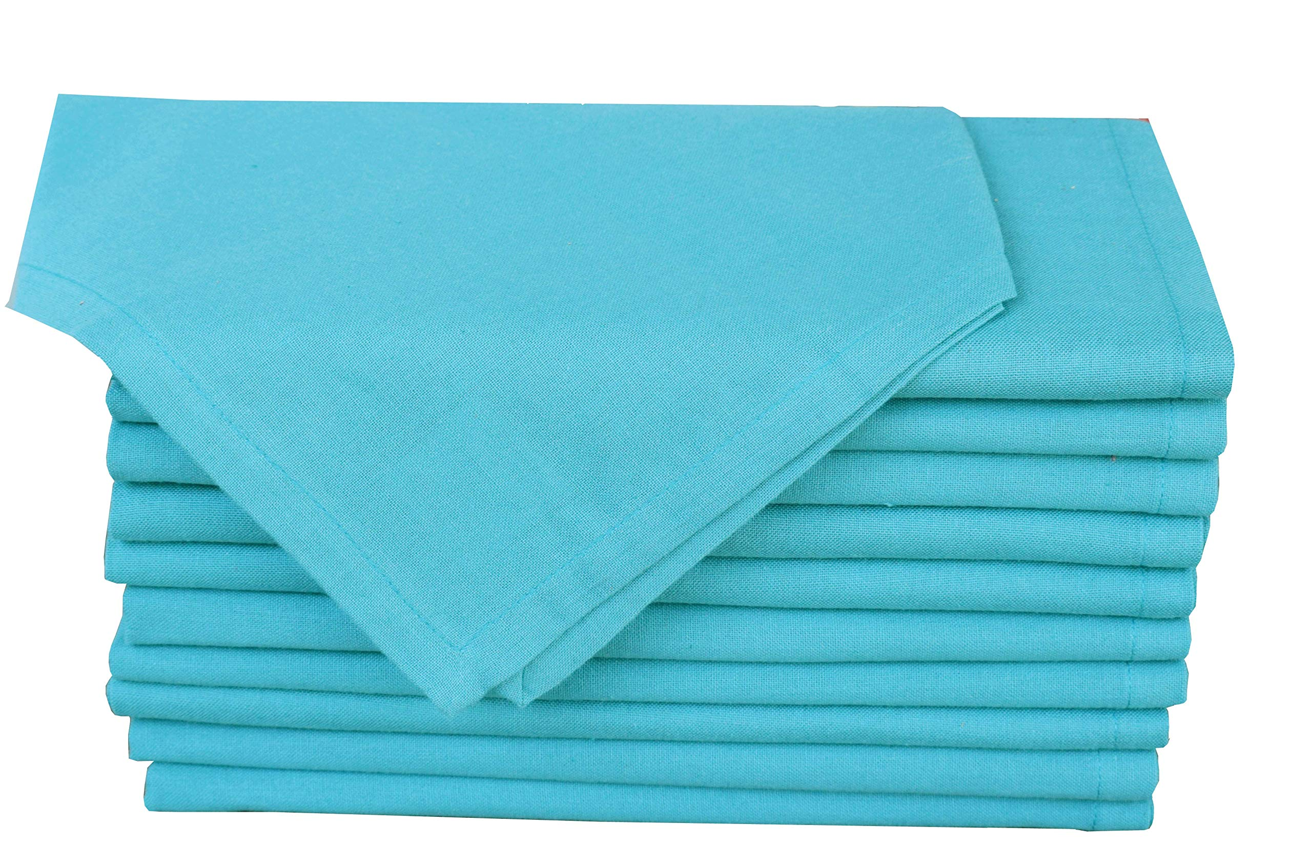 Pack of 12 ,100% Natural Cotton ,20'' x 20'' Square, Oversized Teal Colored Solid Dinner Napkin with selvedge fold By Linen Clubs