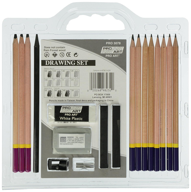 Amazon com pro art 3078 18 piece sketch draw pencil set