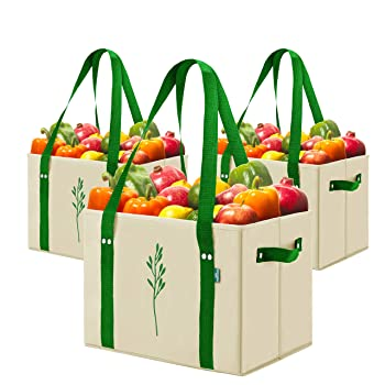 Green Bulldog Bags Set Of 3 Heavy-Duty Reusable Grocery Bag