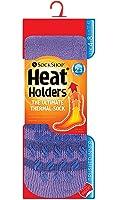 Ladies Heat Holder Thermal Slipper Socks Size 4-8 Uk, 37-42 eu, Lilac Stripe