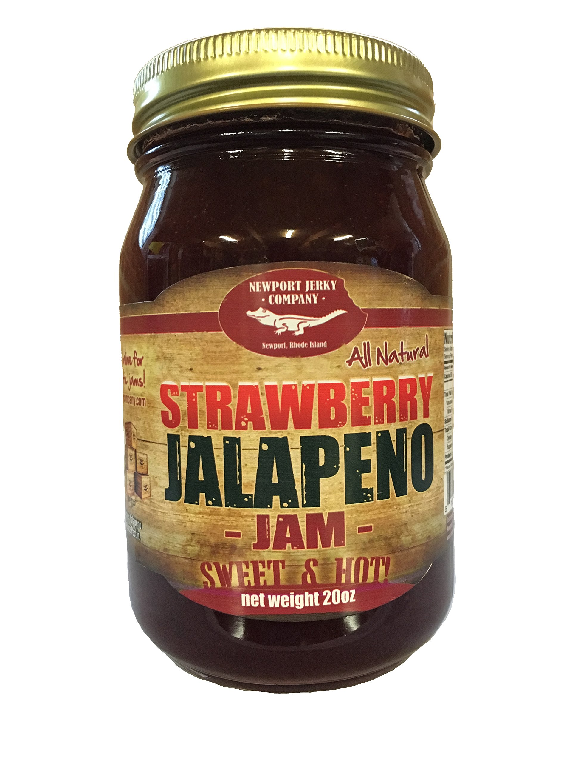 Gourmet Strawberry Jalapeno Jam 20oz Handcrafted Small Batch (FAT FREE, GLUTEN FREE & ALL NATURAL)