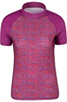 Mountain Warehouse Womens Short Sleeve & Patterned Rash Vest - SPF50+ Sun Protection - Quick Drying, Flat Seams, Stretch Fabric - Ideal for Swimming or Wearing Under a Wetsuit