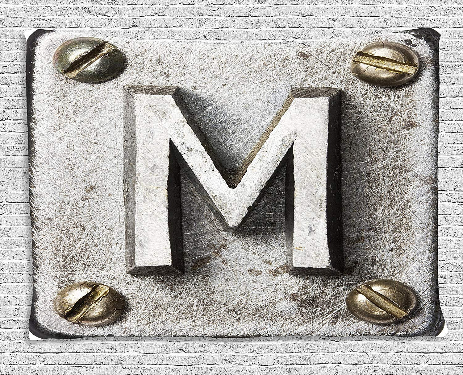 XHFITCLtd Letter M Tapestry, Zinc Iron Steel Alphabet Typeset with Grunge Scratched Texture Industrial Image, Wall Hanging for Bedroom Living Room Dorm, 80 W X 60 L Inches, Silver Gold