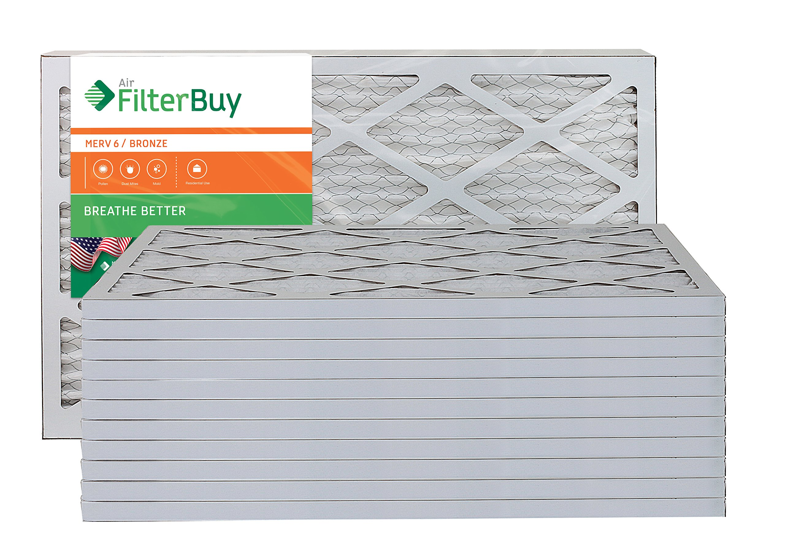 AFB Bronze MERV 6 15x20x1 Pleated AC Furnace Air Filter. Pack of 12 Filters. 100% produced in the USA.