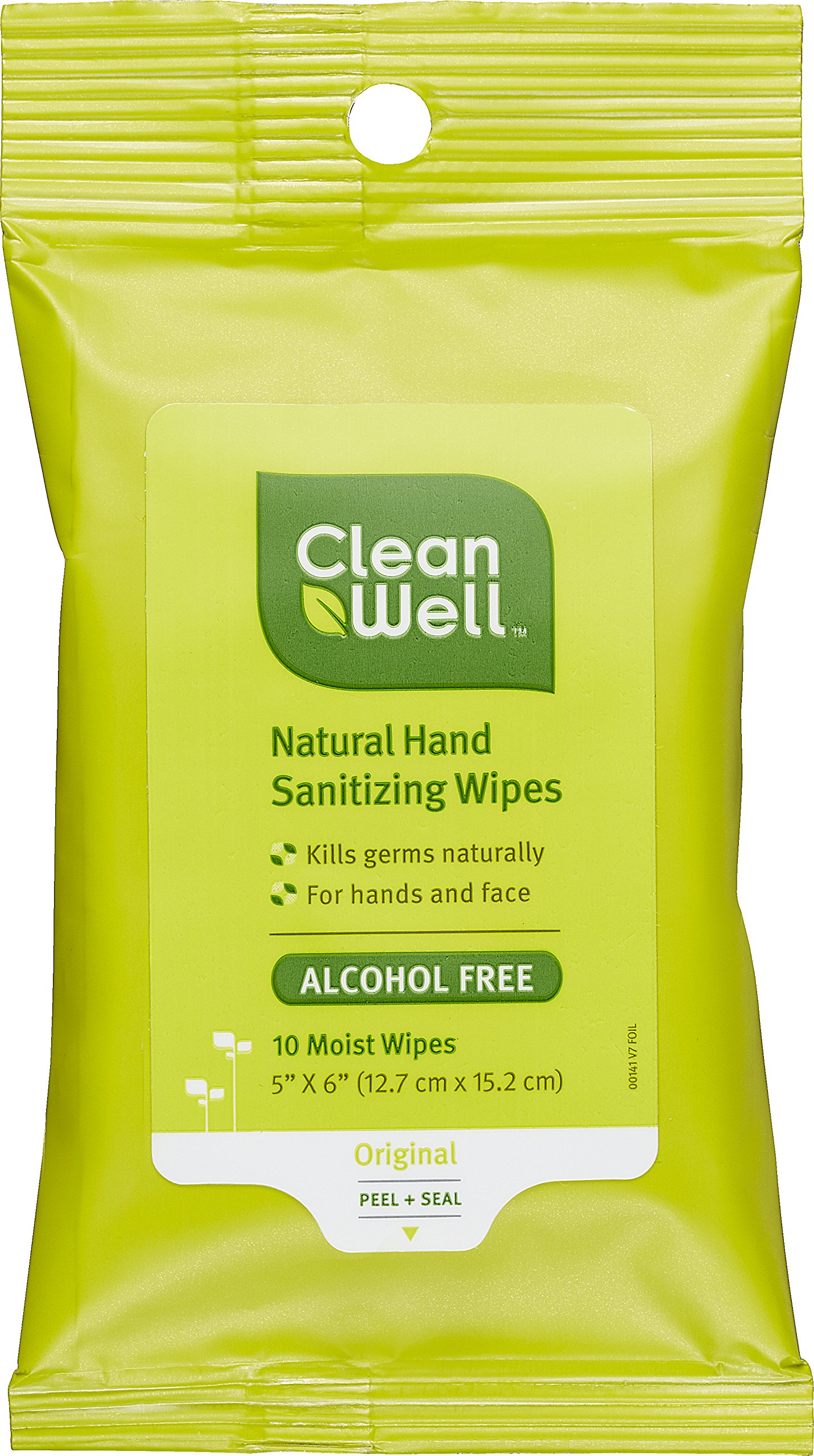 CleanWell Natural Hand Sanitizing Wipes - Original Scent, 10 Count (Pack of 8)