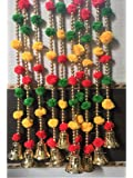 SPHINX® Pom-poms Beads & Golden Hanging Bells Strings/Garlands/torans/Wall hangings for Decoration (Approx 4.8 ft) - Pack of (5)