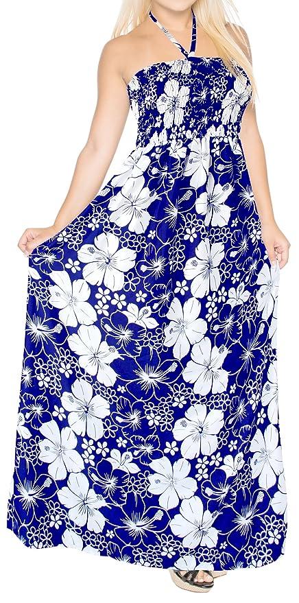 LA LEELA allover sin respaldo flor de hibisco impresión tubo largo batas vestido de color turquesa: LA LEELA: Amazon.es: Ropa y accesorios
