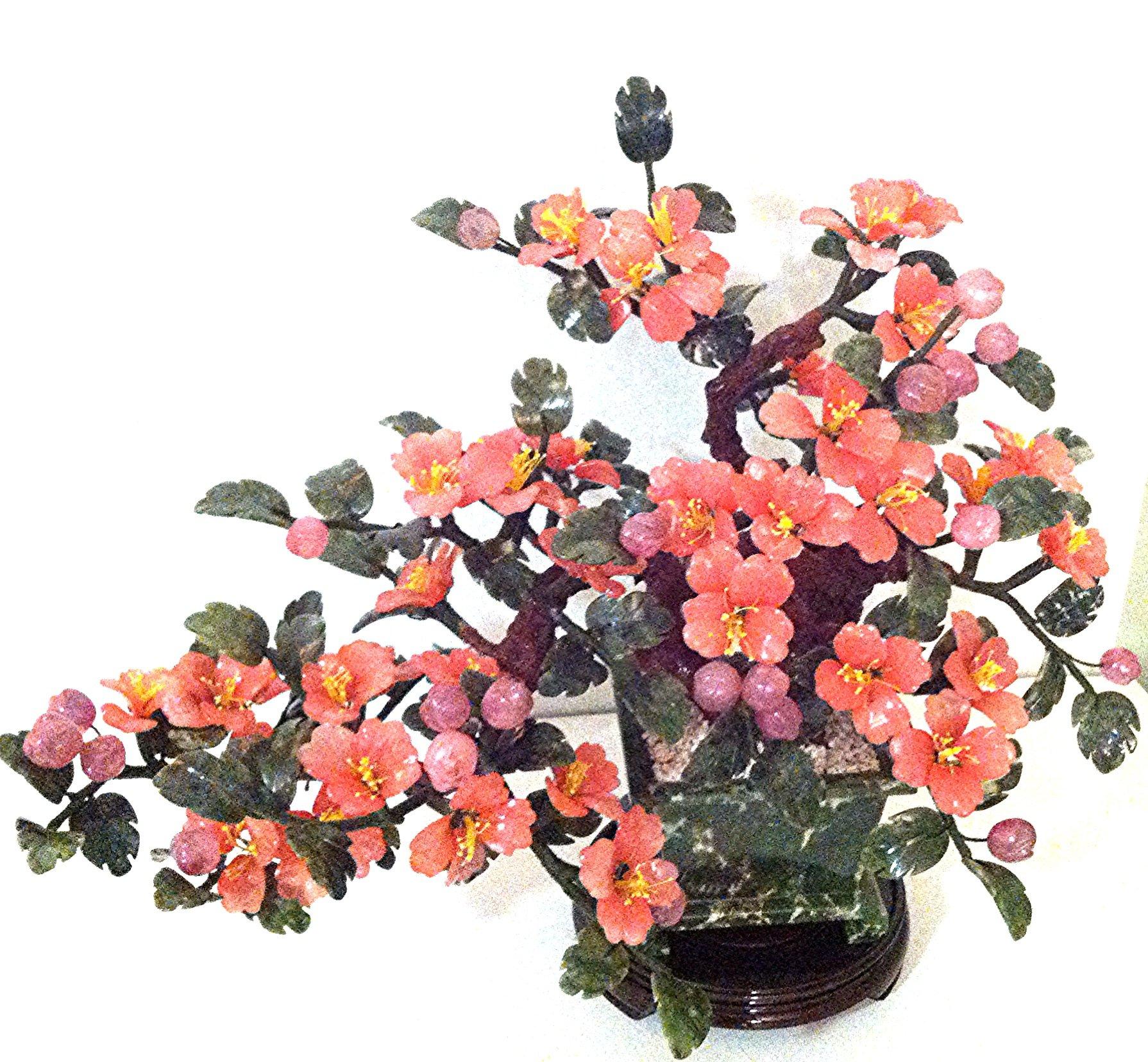 Handcrafted Stonecarving Jade & Glass Bonsai Tree Style Tea Tree Flower Basket