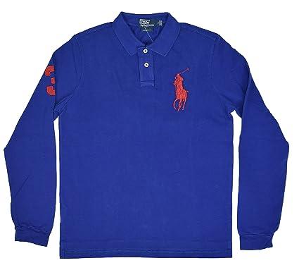 9b962b313a11 Ralph Lauren Men s Custom Fit Long Sleeve Polo Shirt - Big Pony (Small