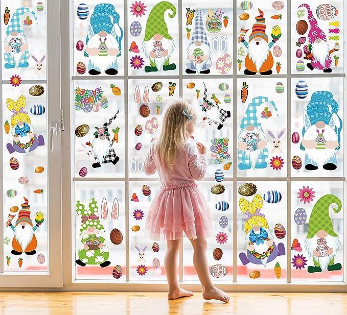 Sayala 39 Stuck Per 6 Teiliges Fensterbild Osterhasen Set Fensterbild Osterzweig Ostern Hase Küken Ostereier Blumen Osterhase Regenbogen Fenstersticker Dekoration Spielzeug